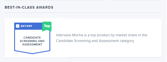 Interview Mocha ranked as Top Product in Candidate Screening & Assessment by Siftery