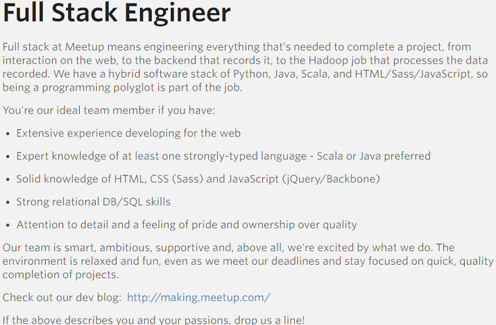 Meetup Job Description